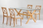 JAT DT42G-150<br>JATCHR43<br>Glass top/Solid Timber leg Dining set<br><br>